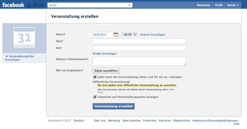 Screenshot: Facebook - Terminankündigung